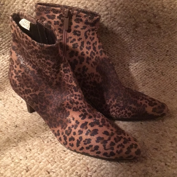 44b550b661a1 Impo Shoes | Stretch Faux Animal Print Bootie | Poshmark